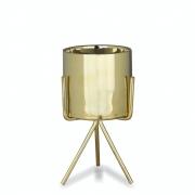 Vasinho Suculenta De Cerâmica Com Suporte Dourado