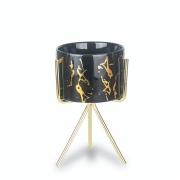 Vasinho Suculenta Preto Dourado Mármore Com Suporte Pequeno