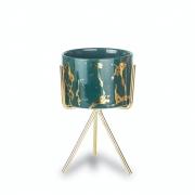Vasinho Suculenta Verde Dourado Mármore Com Suporte Pequeno