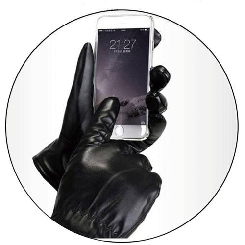 Luva De Couro Ecológico Social Touchscreen Acolchoada Frio