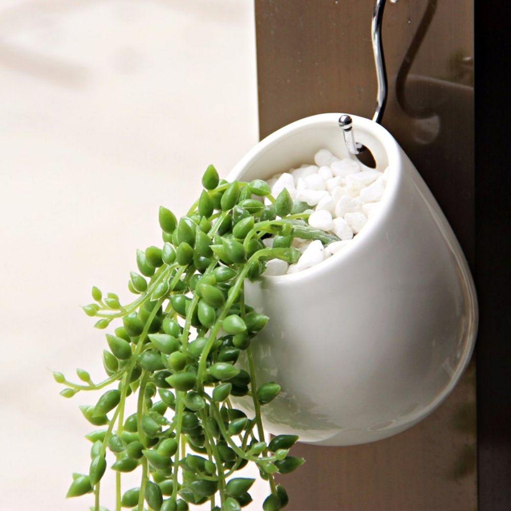 Kit 2 Vasos De Parede Cerâmica Jardim Flores 8x10cm Branco