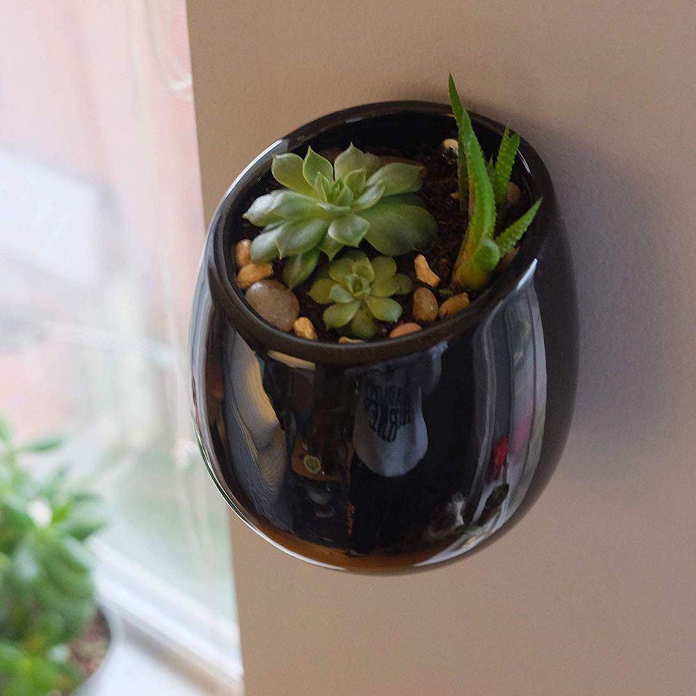 Kit 2 Vasos De Parede Em Cerâmica Jardim Flores 8x10cm Preto