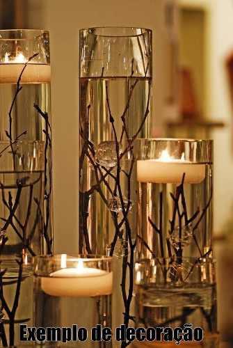 Vaso Tubo Copo De Vidro 10 X 35cm Decoração Mesa Casamentos