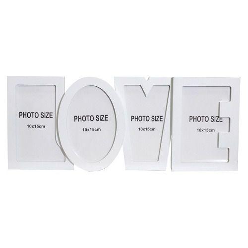 Porta Retratos Letreiro Love Para 4 Fotos Quadro Branco