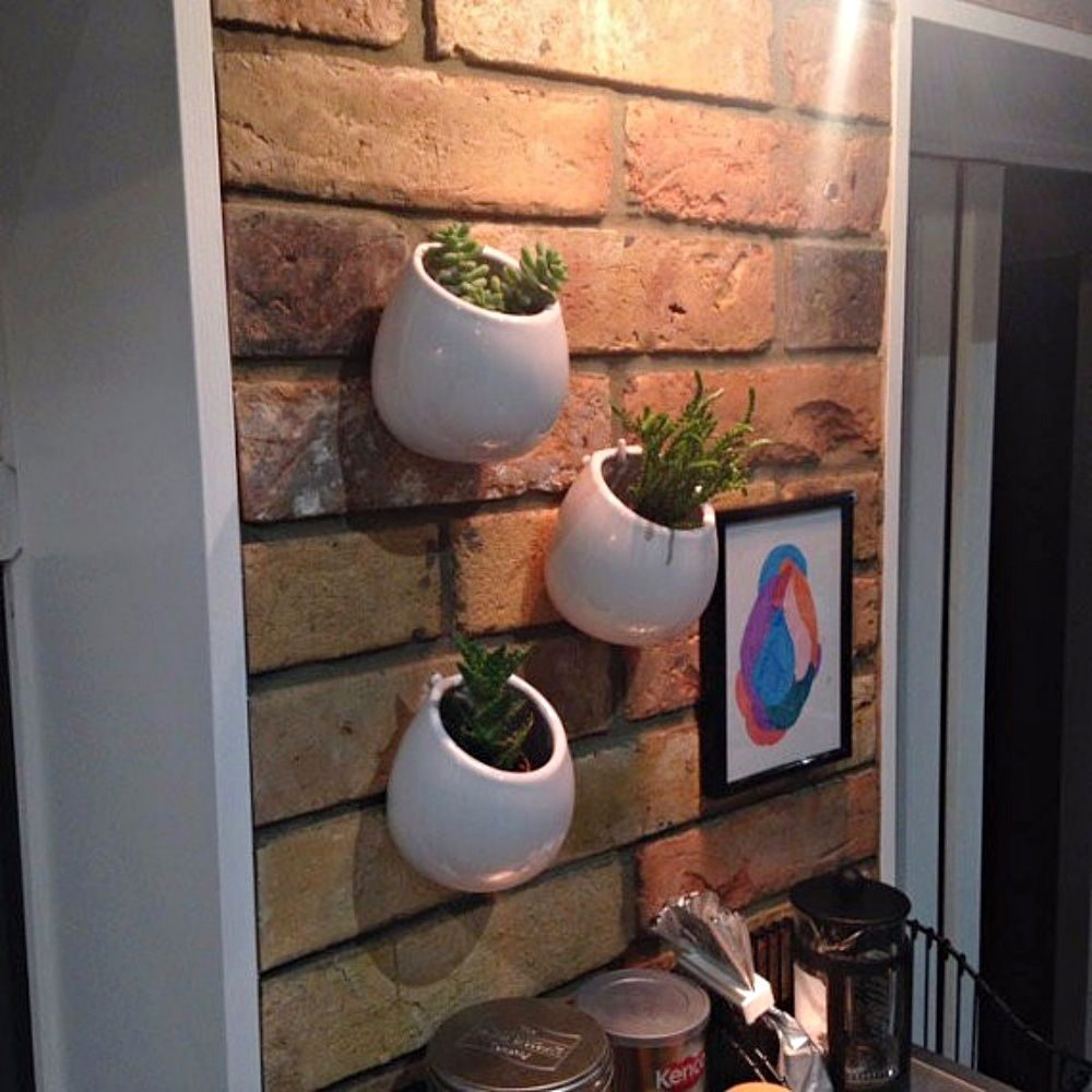 Kit 3 Vasos De Parede Cerâmica Jardim Flores 8x10cm Branco