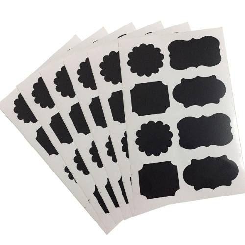 Cartela Com 48 Etiqueta Adesivas Lousa Tempero + Caixa Giz