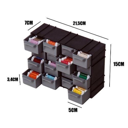 Caixa Gaveteiro Organizador Plástico 16 Gavetinhas Modulável