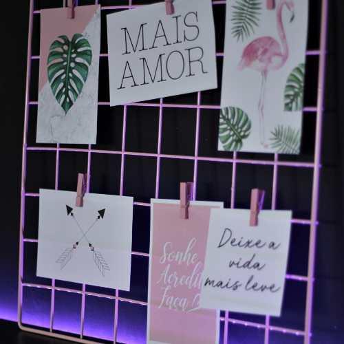 Memory Board Aramado Preto Mural De Fotos Rosa 40x40 Cm