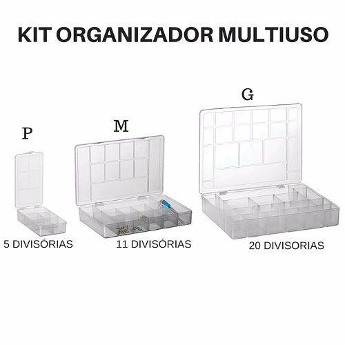 Kit 3 Caixas Organizadora Multiuso Ferramenta Prego Parafuso