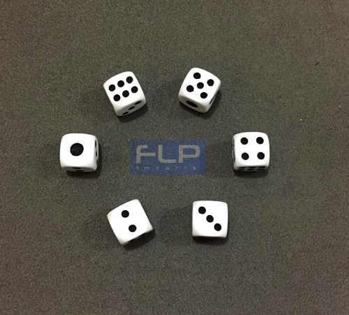 Lote Conjunto Com 100 Dados Brancos 6 Faces Para Jogos 14mm