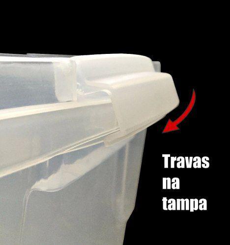 Caixa 20 Litros Plástica Organizadora Transparente Com Tampa