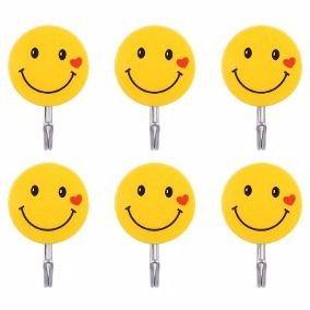 Kit 20 Ganchos Ganchinhos Adesivo De Parede Carinha Smile