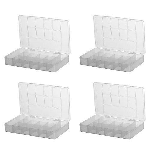 Kit 4 Caixas Organizadora Multiuso 11 Divisórias Bijuteria