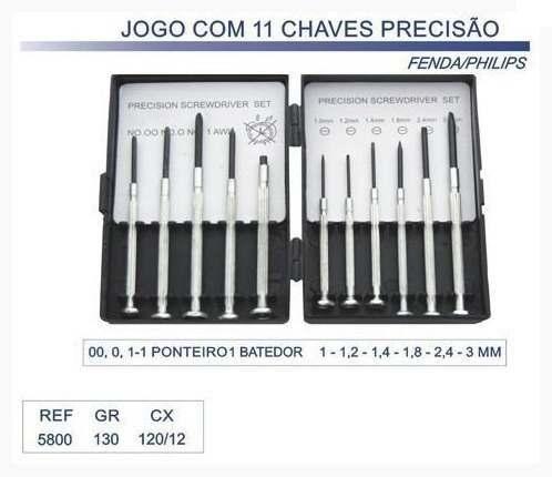 Kit Jogo De Chaves Precisão Relojoeiro E Celular 11 Peças
