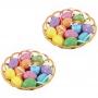 Enfeite Decorativo De Páscoa 2 Cestas 24 Ovos Com Glitter