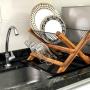 Escorredor De Louça Retro Dobrável Cozinha Em Madeira Teca