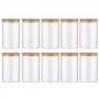 Kit 10 Potes De Vidro Para Mantimentos Com Tampa Bambu 600ML