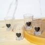 Kit 4 Copos Americano De Vidro Coração Para Suco Água 190ml