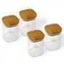 Kit 4 Potes Quadrados Para mantimentos Tampa De Bambu 200ML
