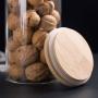 Kit 6 Potes De Vidro Para Mantimentos Com Tampa Bambu 600ML
