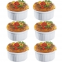 Kit 6 Ramekins Ramequim Gourmet 190ml Cerâmica Canelado