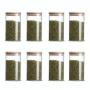 Kit 8 Potes De Vidro Tampa De Bambu Mantimentos 380ml