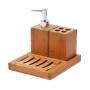 Kit Para Banheiro Em Bambu Porta Escovas E Porta Sabonete