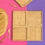 Petisqueira 4 Divisórias Encaixáveis Bambu Com 4 Espátulas