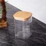 Pote Quadrado De Vidro Para mantimentos Tampa De Bambu 200ML