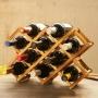 Suporte Para Vinhos Adega Retrátil E Dobrável De Bambu 8Cav