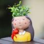 Vaso Decorativo Menina Vasinho Para Flor Suculenta
