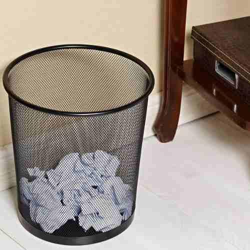 Lixeira Para Escritório Cesto De Lixo Em Aço Telado Preta