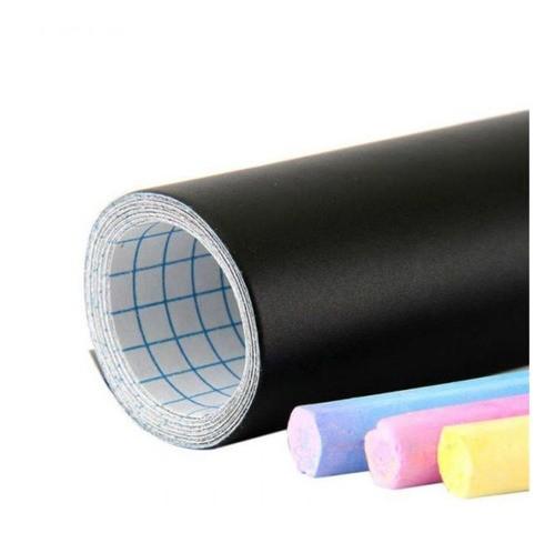 Adesivo De Parede Quadro Negro Lousa 45x200cm Com Giz Color