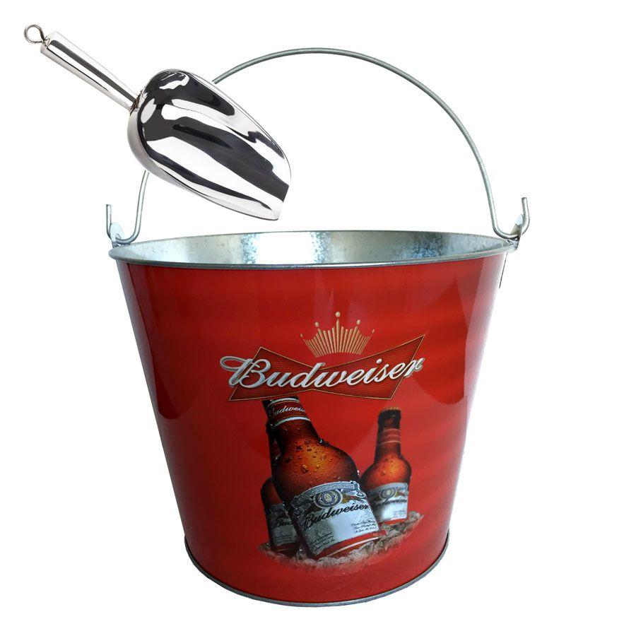 Kit Balde de Gelo Long Neck Cerveja Budweiser Com Pá De Gelo