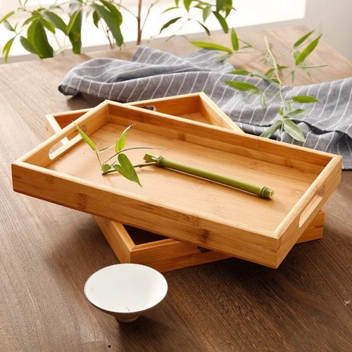 Bandeja Bambu Retangular Para Servir Com Alça 33,5cmX22Cm