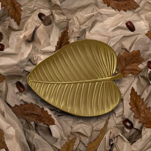 Bandeja Decorativa Em Formato Folha Dourada Decoração MDF