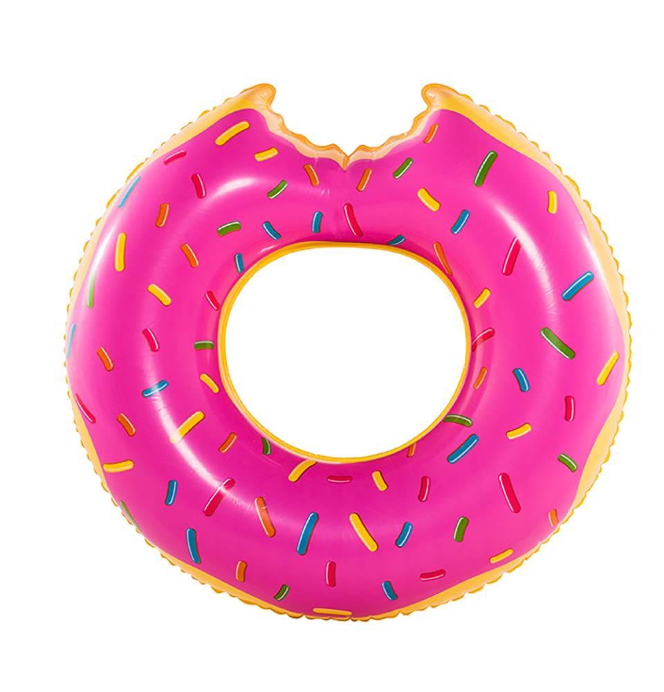 Boia Gigante Inflável Donuts Para Piscina Praia Morango 120cm