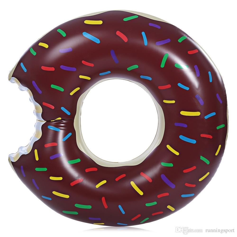 Boia Gigante Inflável Donuts Para Piscina Praia Chocolate 120cm