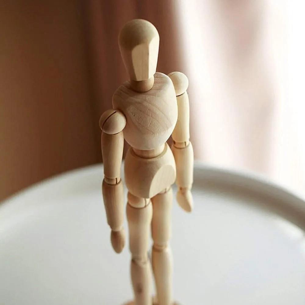 Boneco De Madeira Articulado Manequim Desenho Moda Arte 16cm