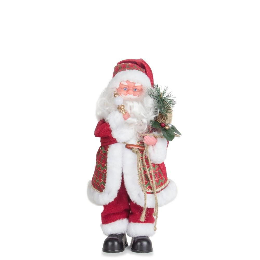 Boneco Papai Noel Musical Enfeite Decoração De Natal 31Cm