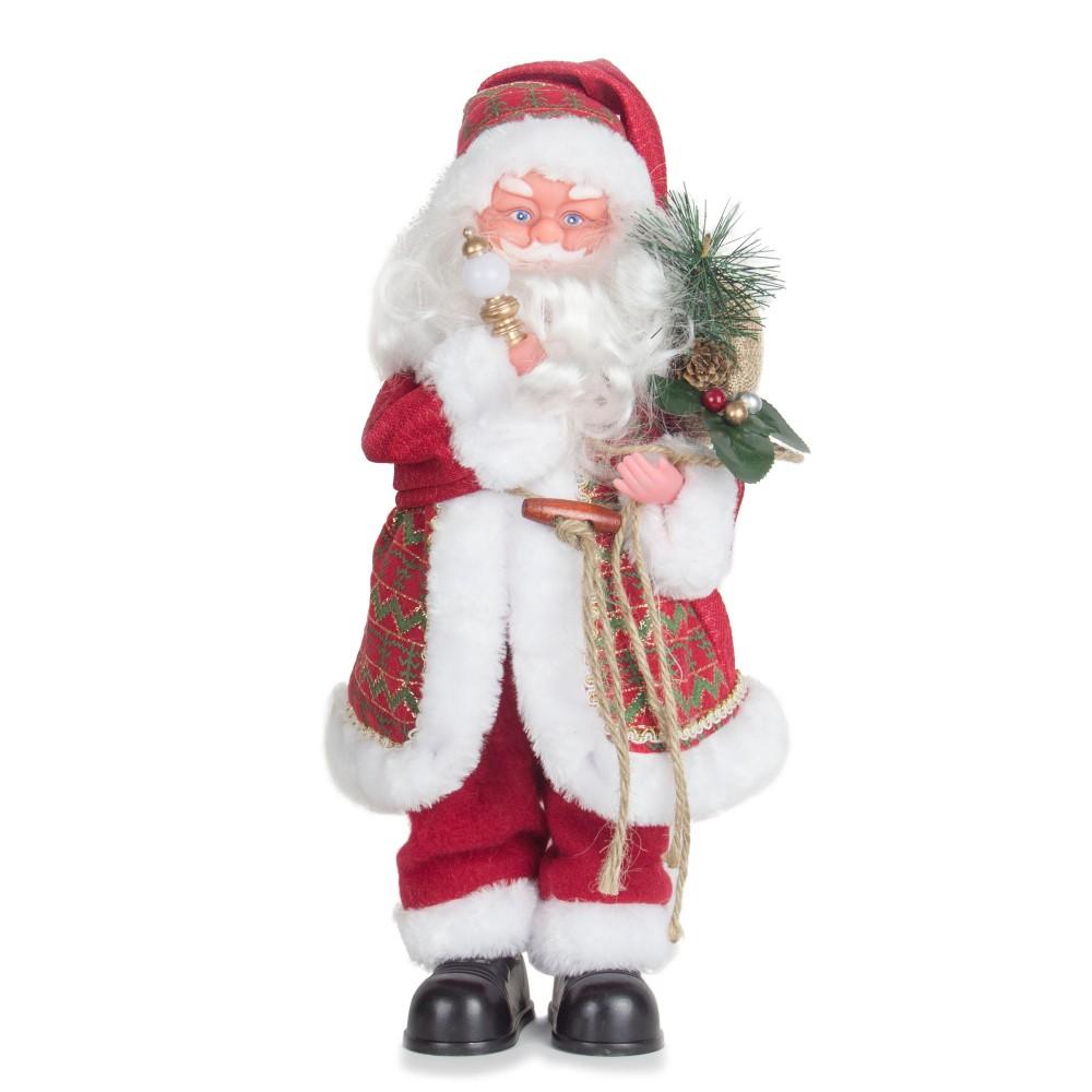 Boneco Papai Noel Musical Enfeite Decoração De Natal 38Cm