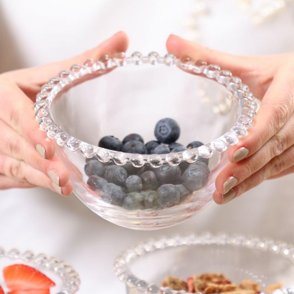 Bowl De Cristal Pérola Decorativo Sobremesa