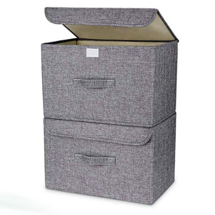 Caixa Organizadora De Tecido Com Tampa Dobrável 36x23x24