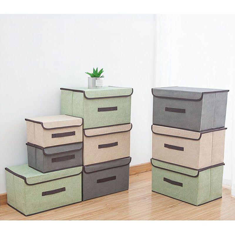 Caixa Organizadora De Tecido Com Tampa Dobrável 33x23x18