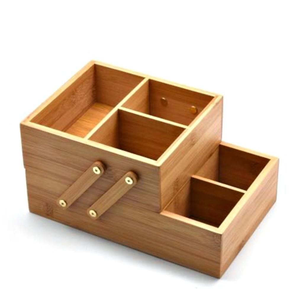 Caixa Organizadora De Bambu 6 Divisórias Multiuso 2 Andares