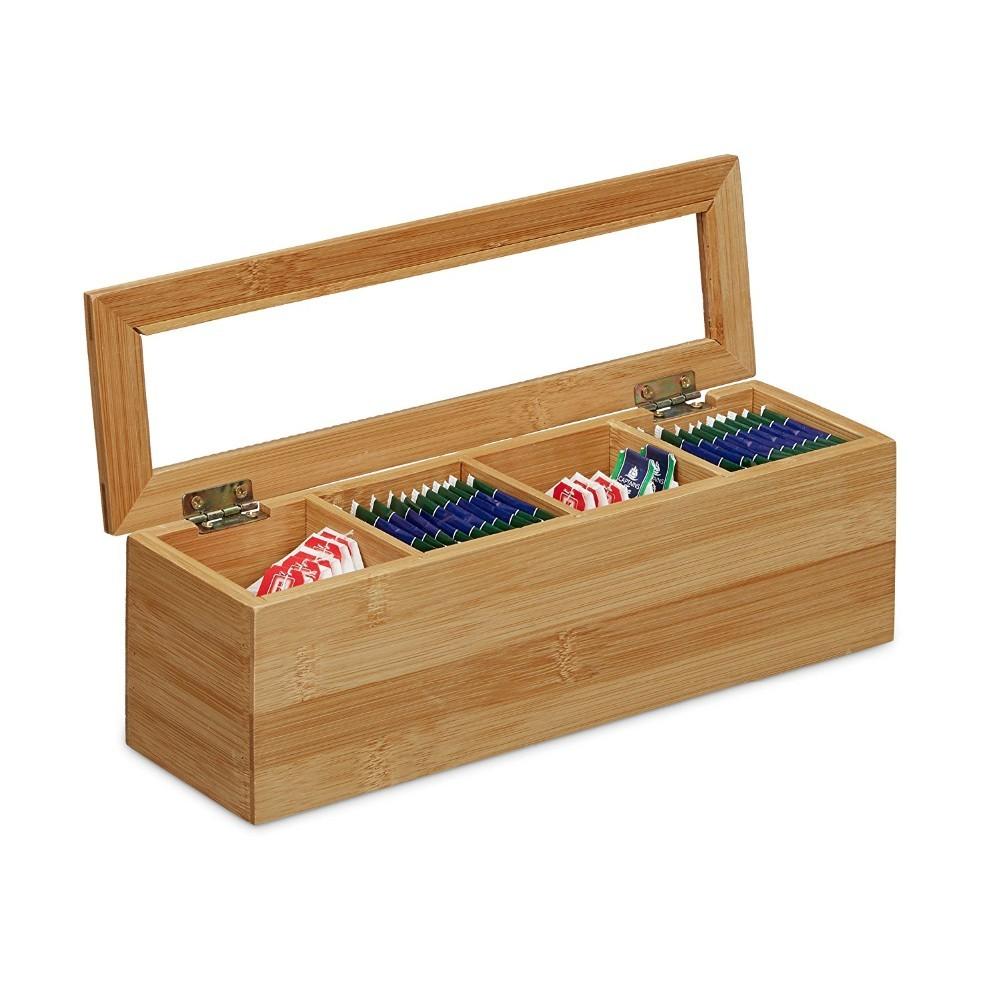 Caixa Organizadora Multiuso De Bambu Para Chá Café 4 Div