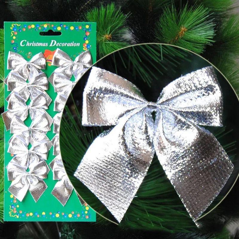 Cartela Com 12 Laços Enfeite Para Árvore De Natal Prata