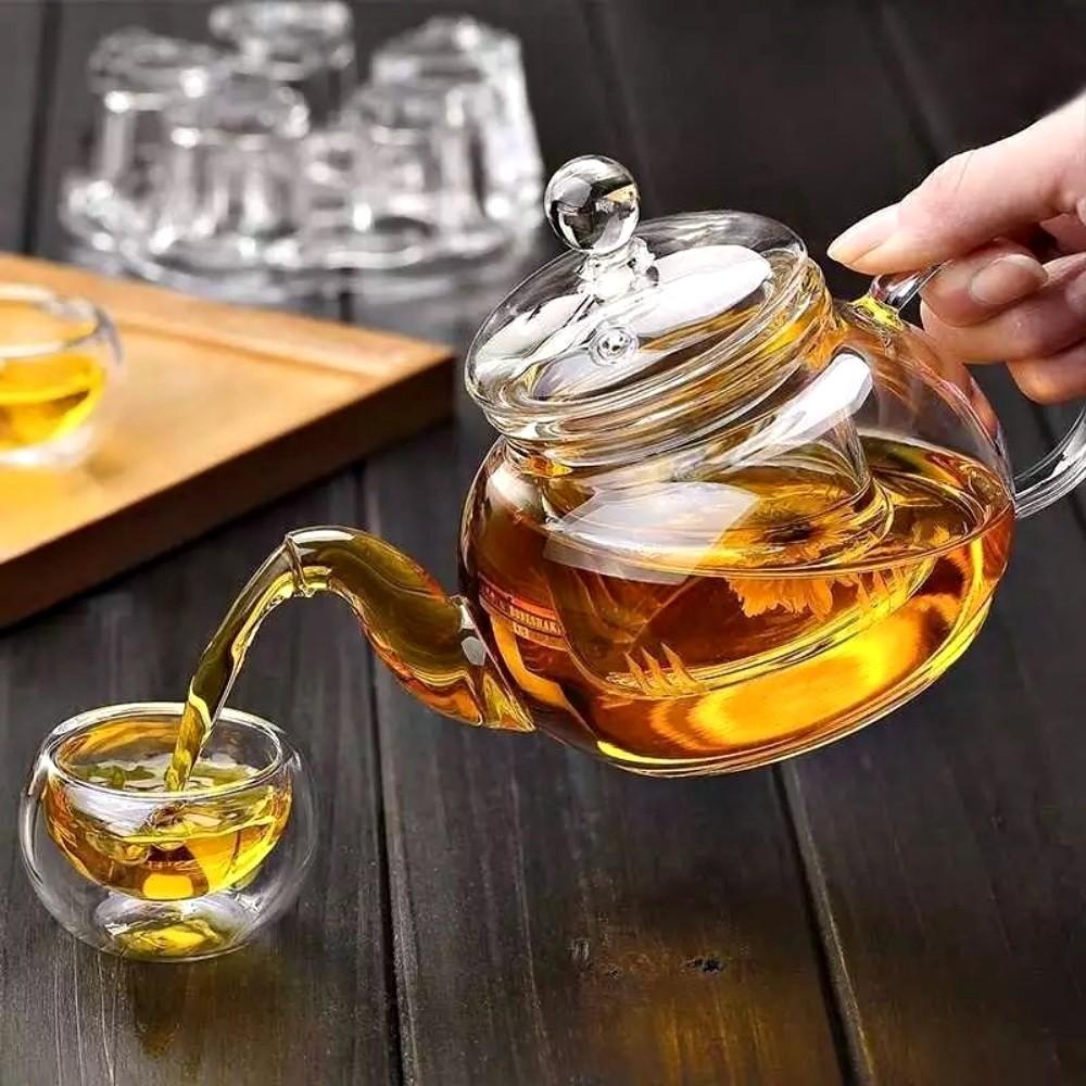 Chaleira Bule De Vidro 840ML Com Infusor Para Chá
