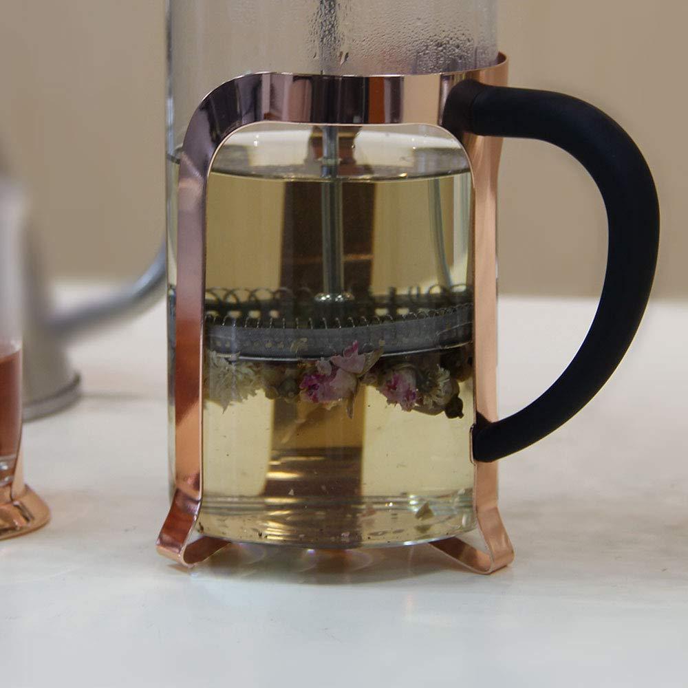 Chaleira Cafeteira Francesa Rose Gold Em Vidro Café e Chá