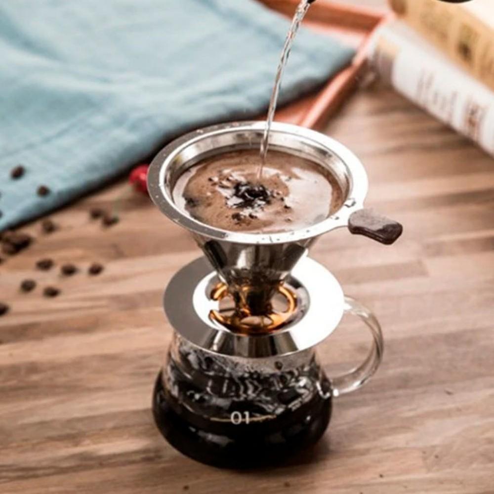 Coador Filtro Cafe Com Suporte Aço Inox Reutilizável